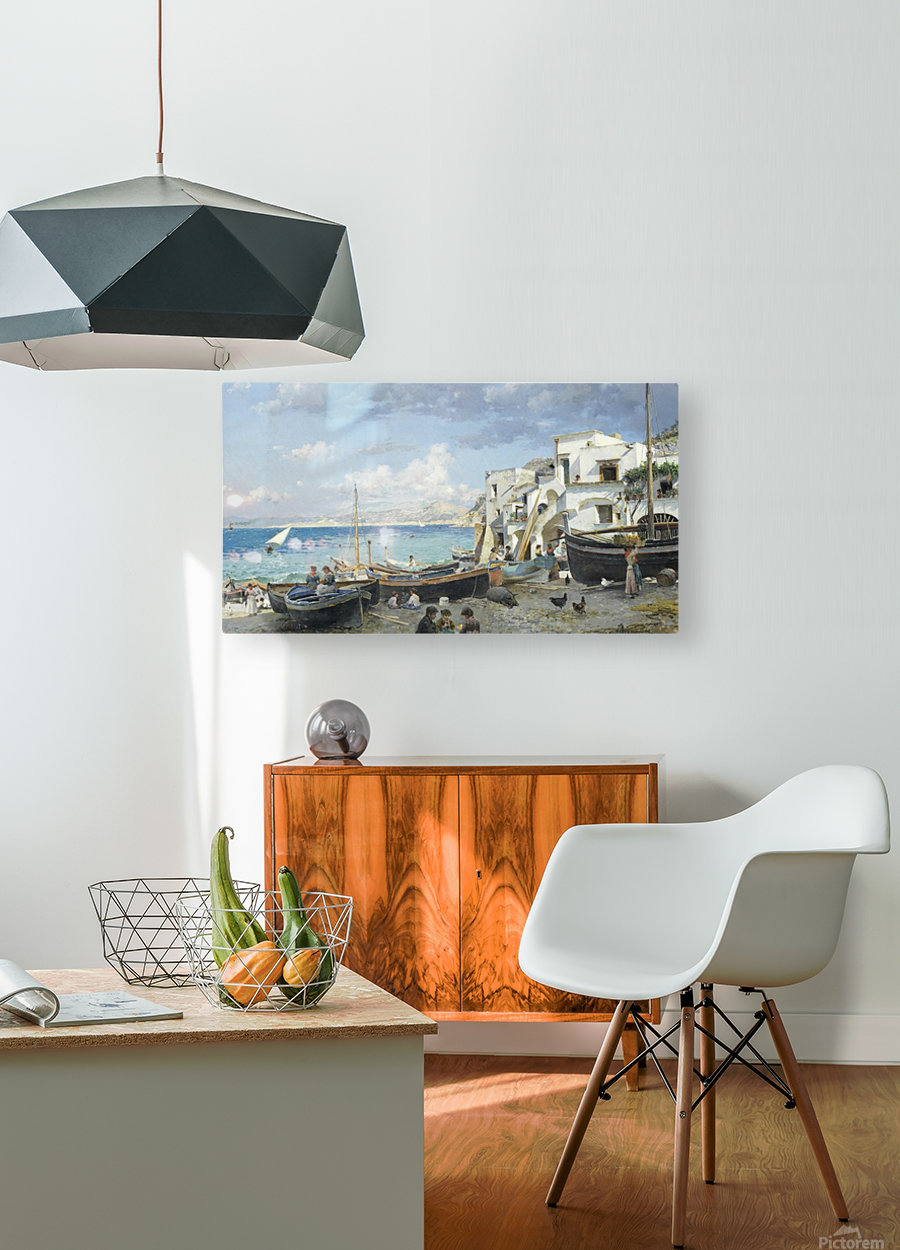 Italian coast with mountains seen in the background  HD Metal print with Floating Frame on Back