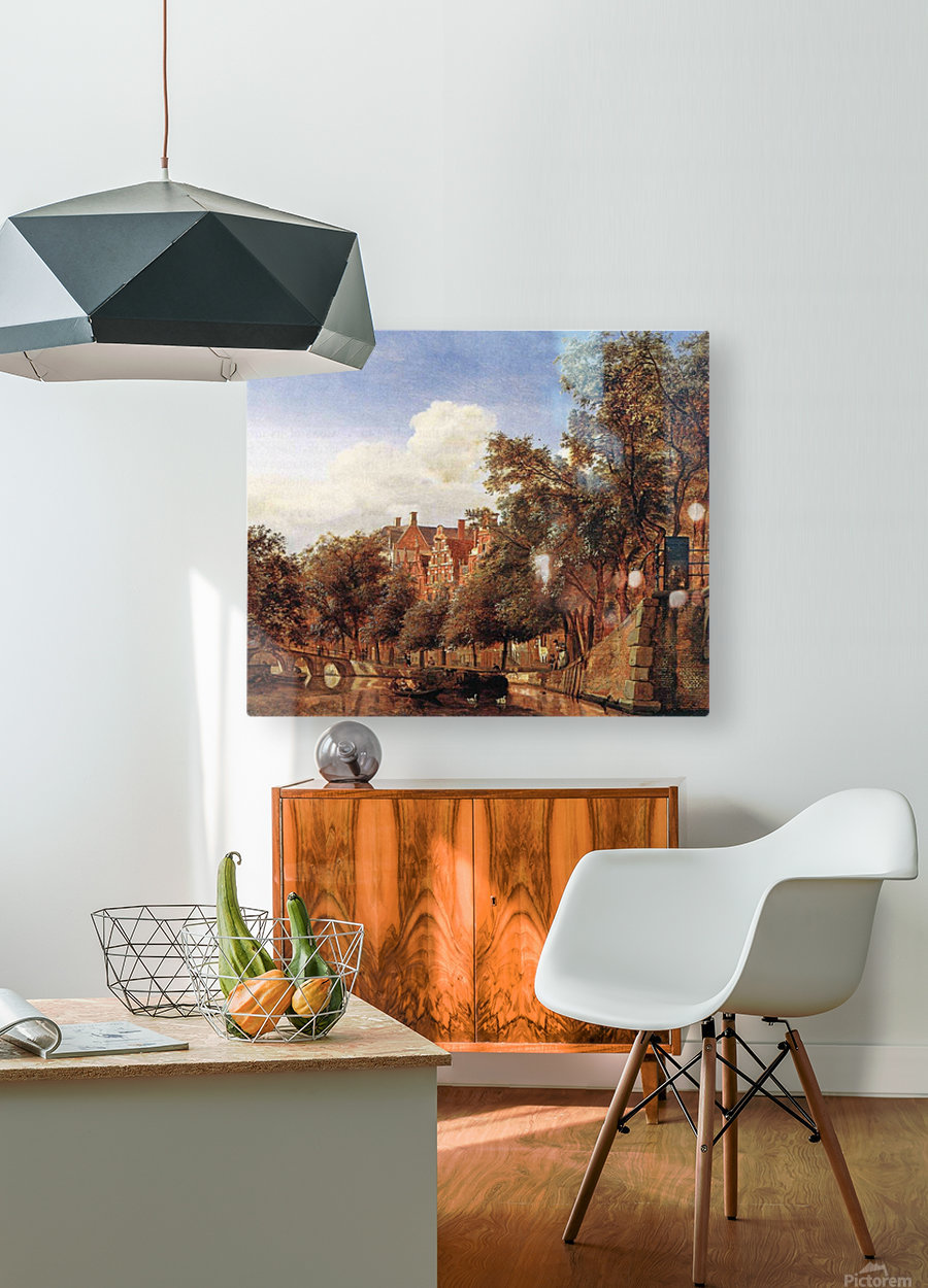 Along the canal  HD Metal print with Floating Frame on Back