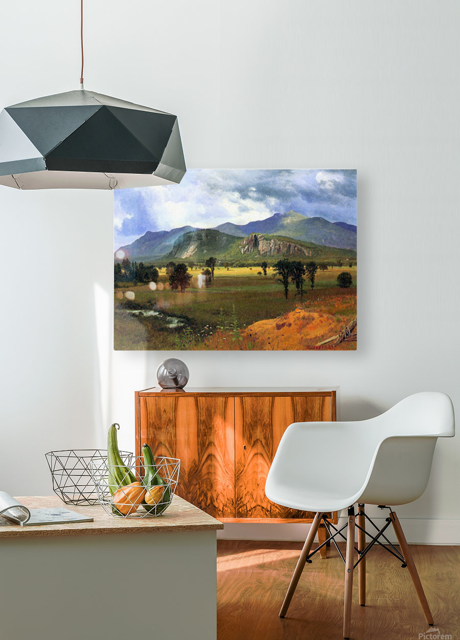 Moat Mountain, Intervale, New Hampshire by Bierstadt  HD Metal print with Floating Frame on Back