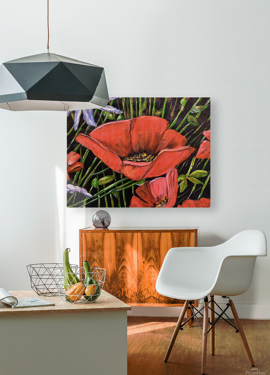 Folding Poppy  HD Metal print with Floating Frame on Back