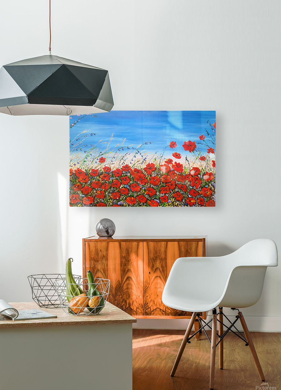 Poppies in the Wind  HD Metal print with Floating Frame on Back