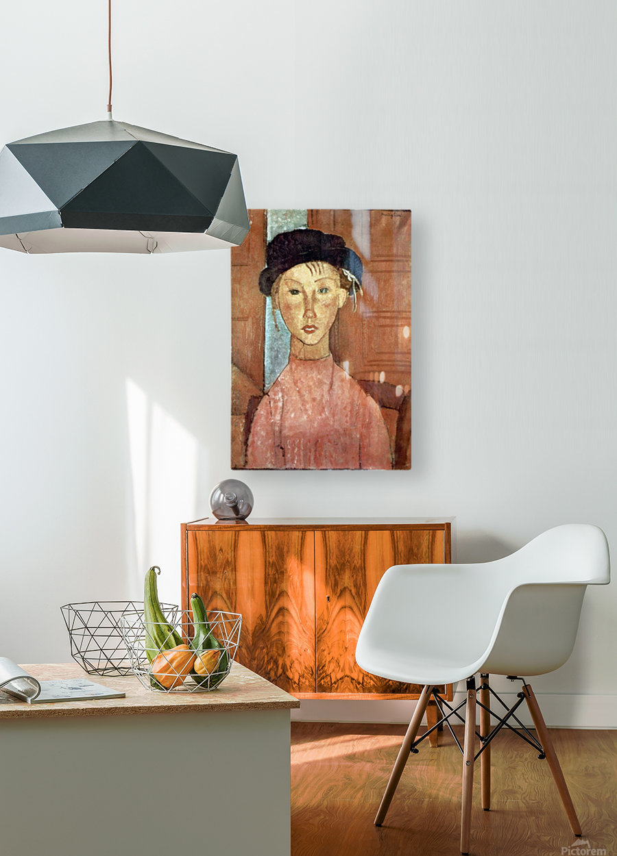 Modigliani - Girl with Hat  HD Metal print with Floating Frame on Back