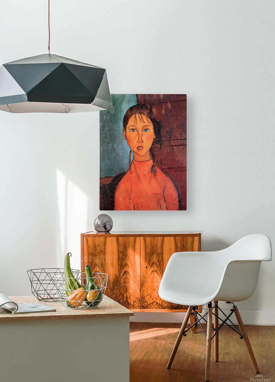 Modigliani - Girl with plaits  HD Metal print with Floating Frame on Back