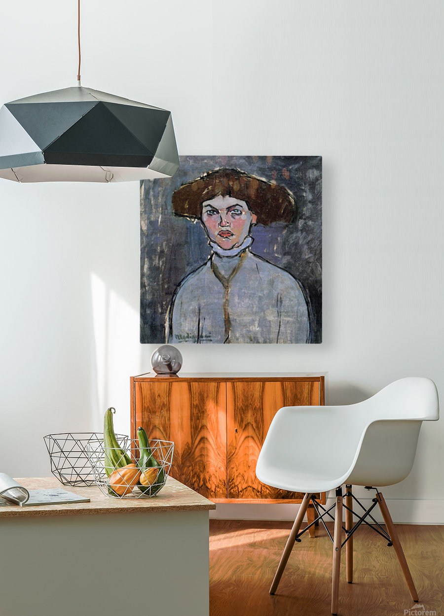 Modigliani - Head of a young woman  HD Metal print with Floating Frame on Back