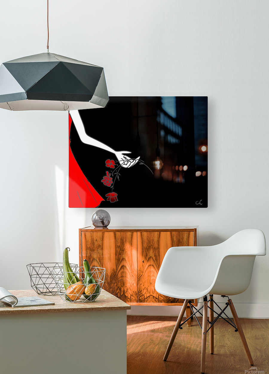Dropping roses  HD Metal print with Floating Frame on Back