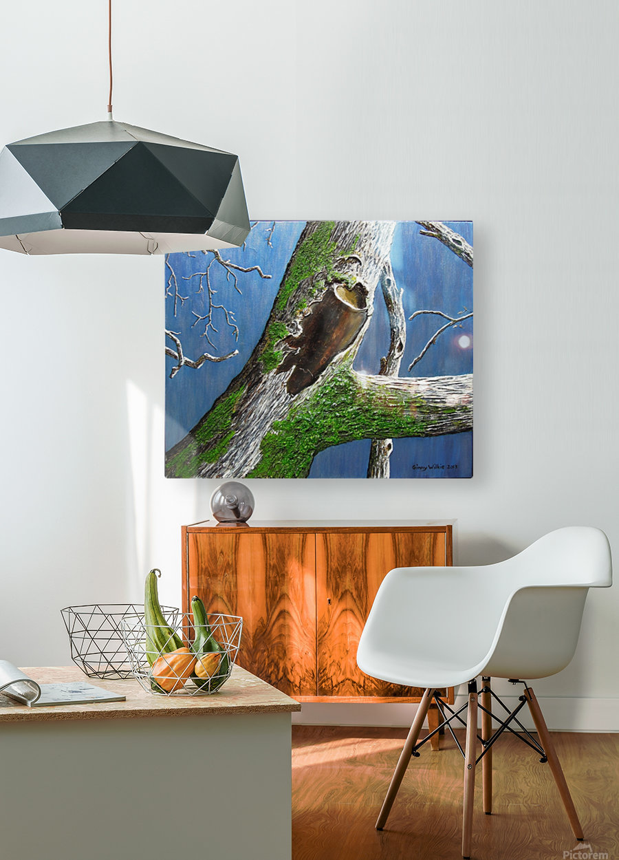 Mossy Branch  HD Metal print with Floating Frame on Back