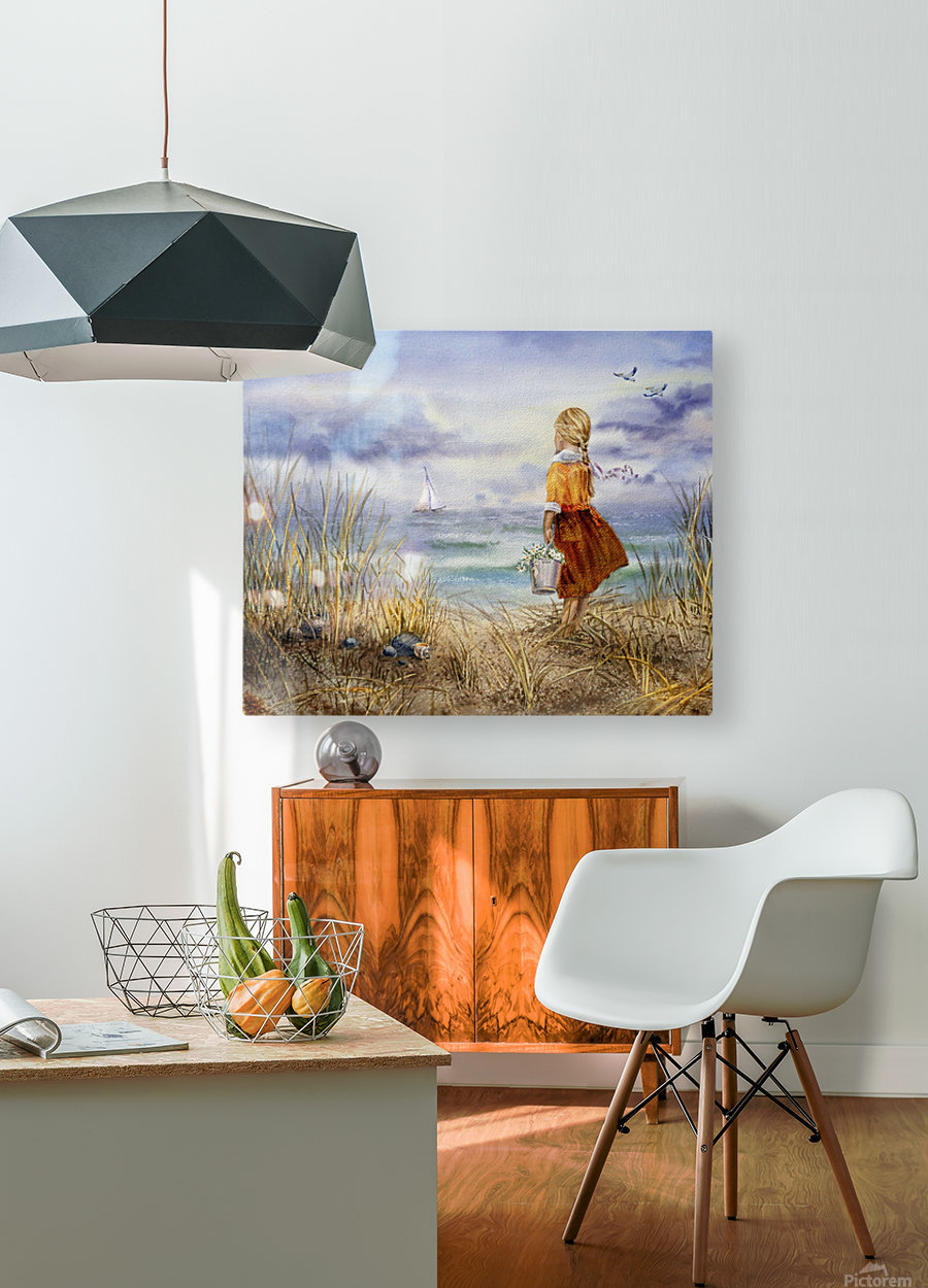 Girl And The Ocean  HD Metal print with Floating Frame on Back