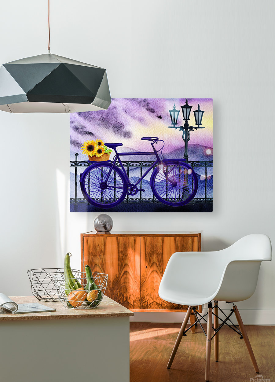Bicycle And Sunflowers  HD Metal print with Floating Frame on Back
