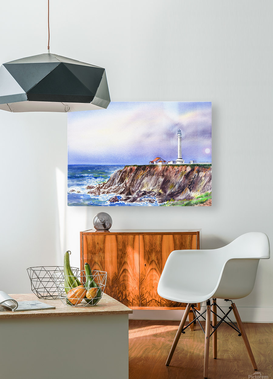 Lighthouse Point Arena California   HD Metal print with Floating Frame on Back
