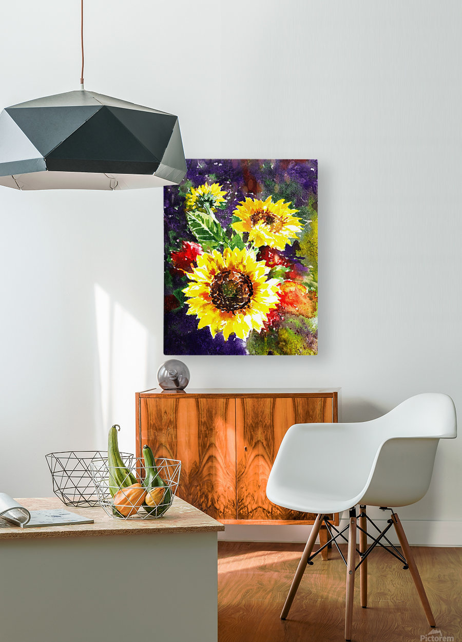 Impressionism And Sunflowers  HD Metal print with Floating Frame on Back