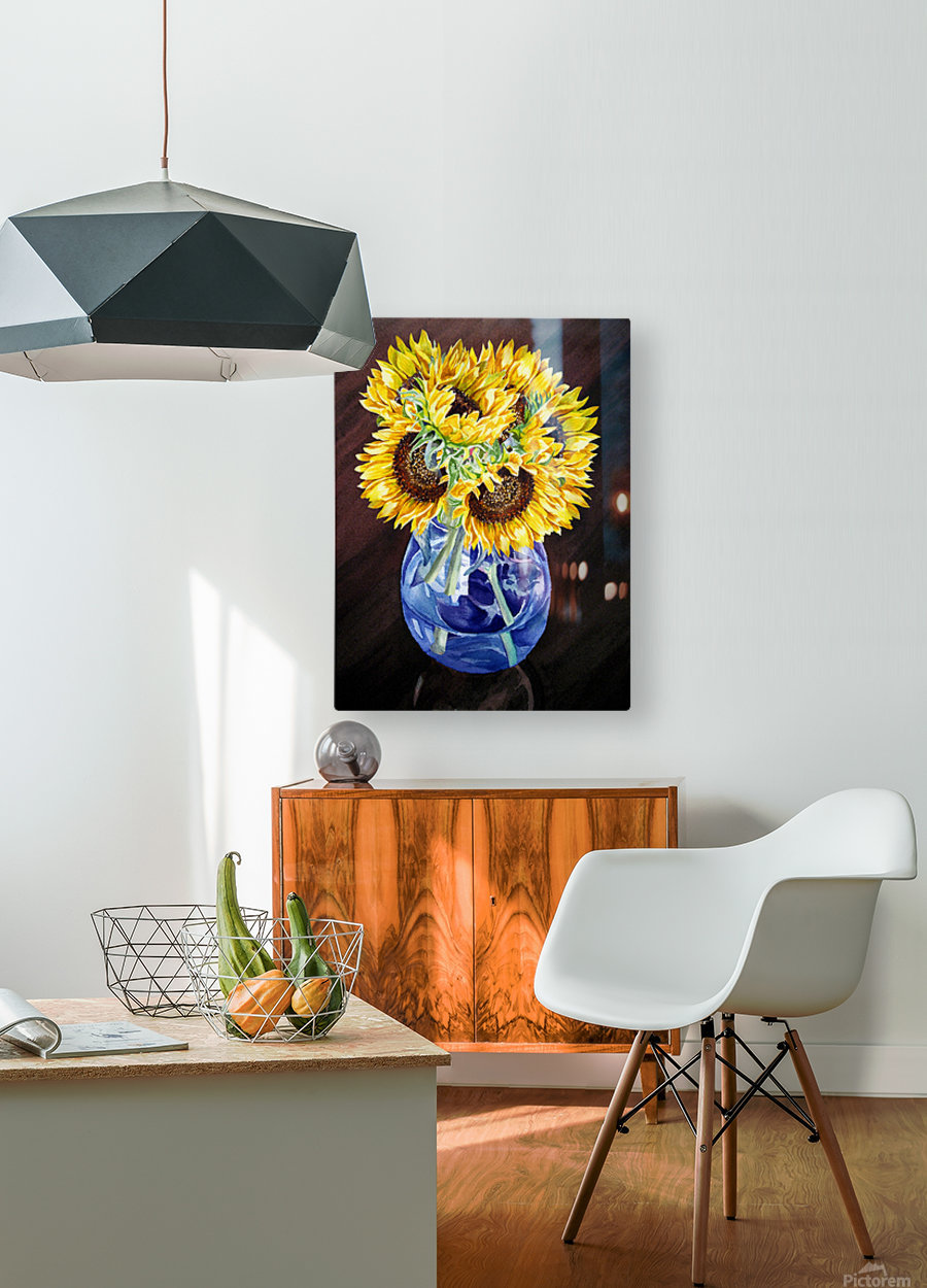 A Bunch Of Sunflowers  HD Metal print with Floating Frame on Back