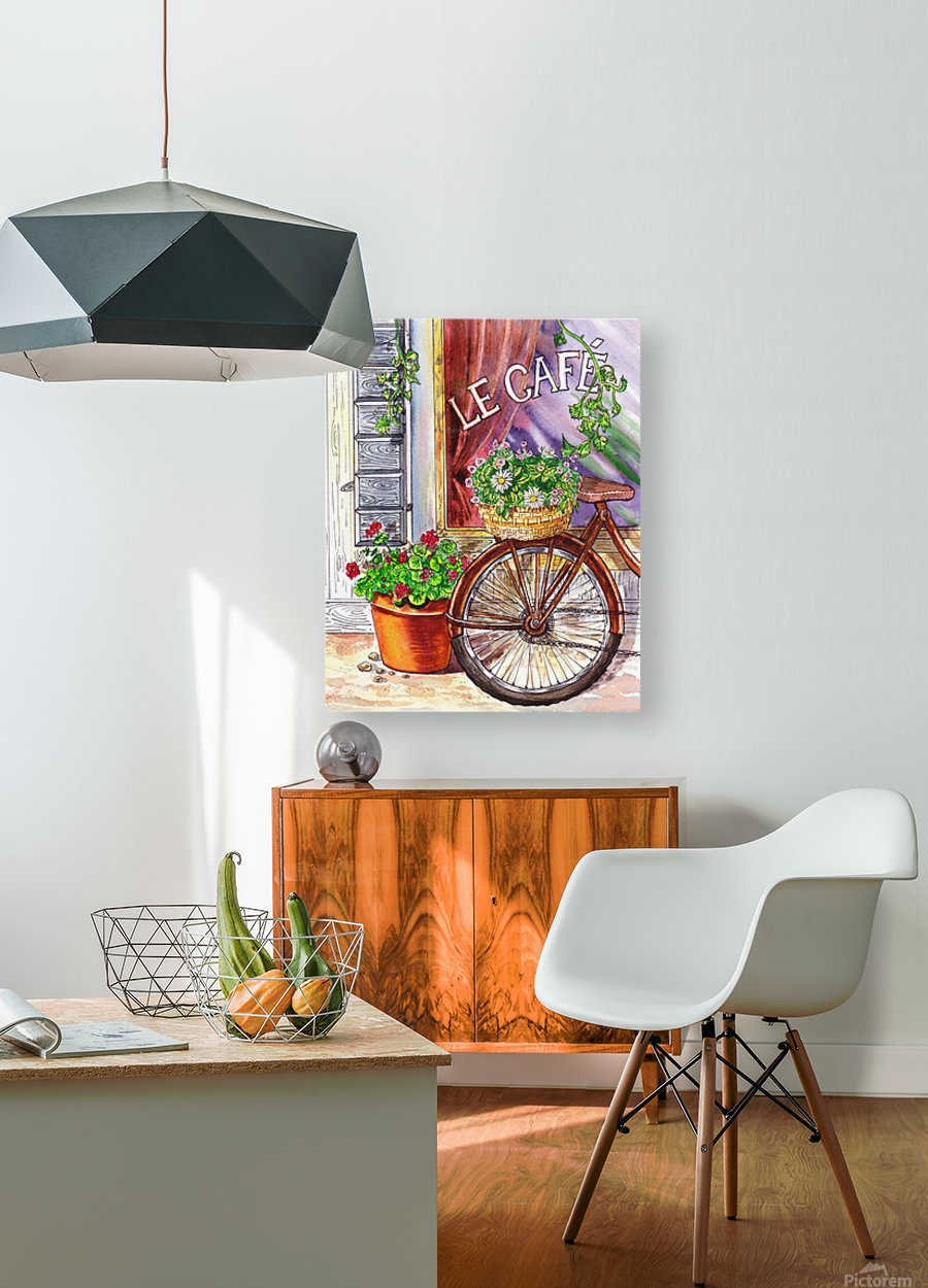 French Cafe And Bicycle With Basket  HD Metal print with Floating Frame on Back