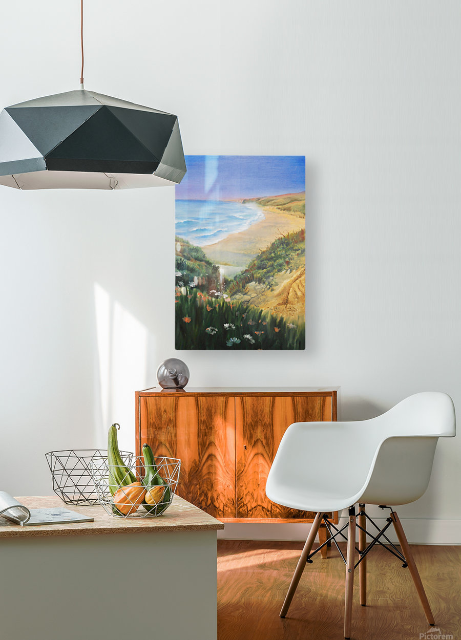Ocean Shore Through The Hills  HD Metal print with Floating Frame on Back