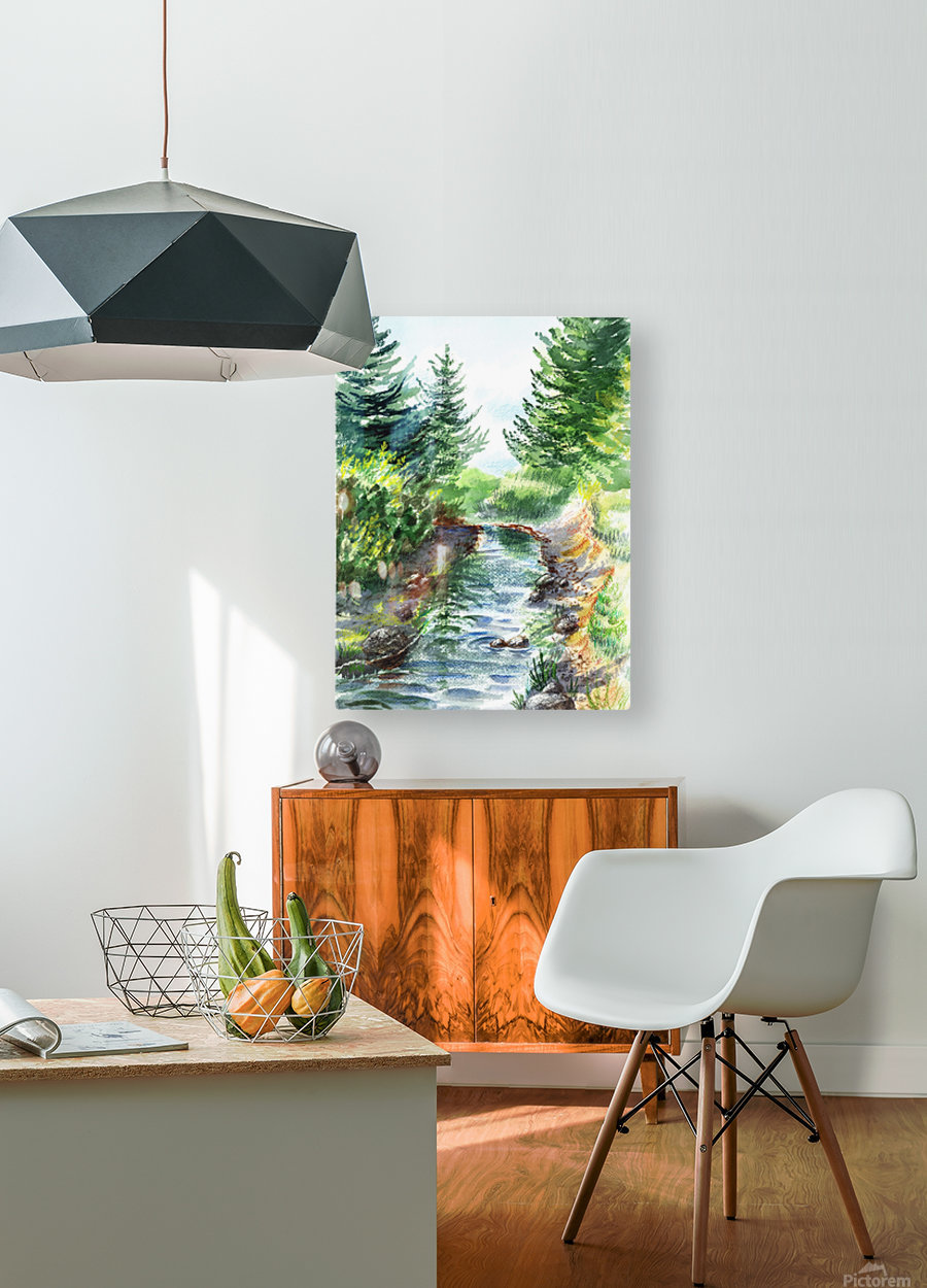 Forest Creek  HD Metal print with Floating Frame on Back