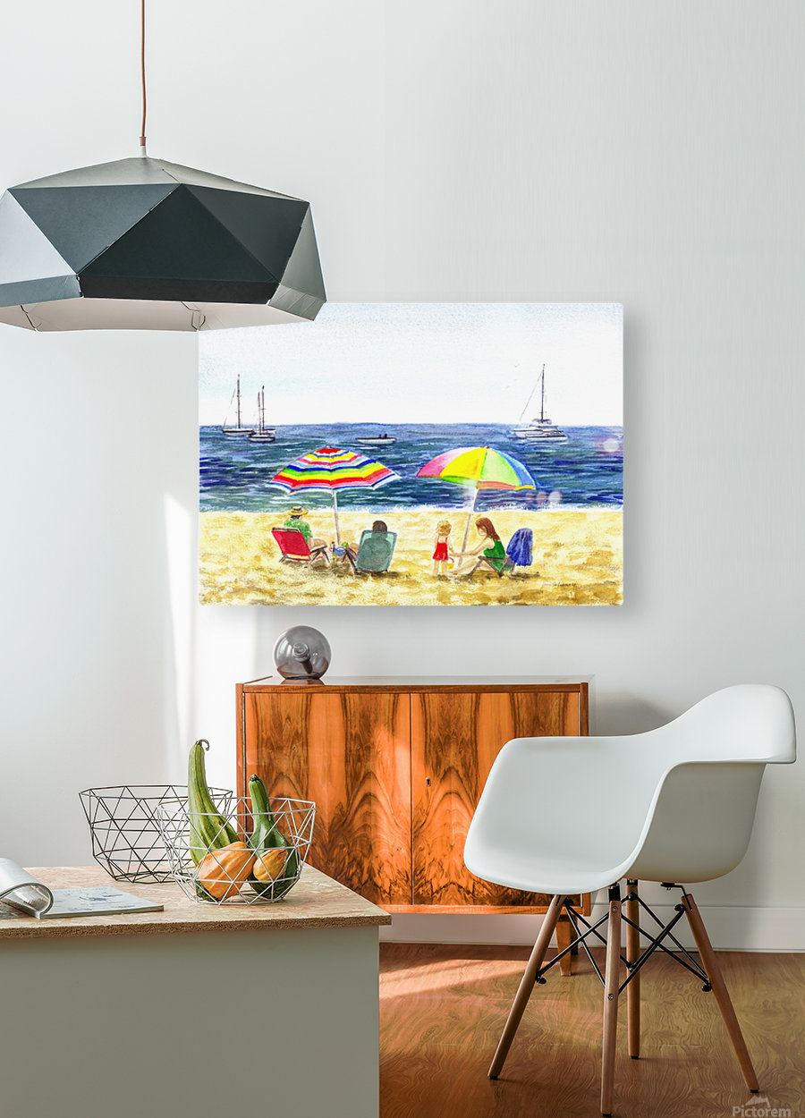 Two Umbrellas On The Beach  HD Metal print with Floating Frame on Back