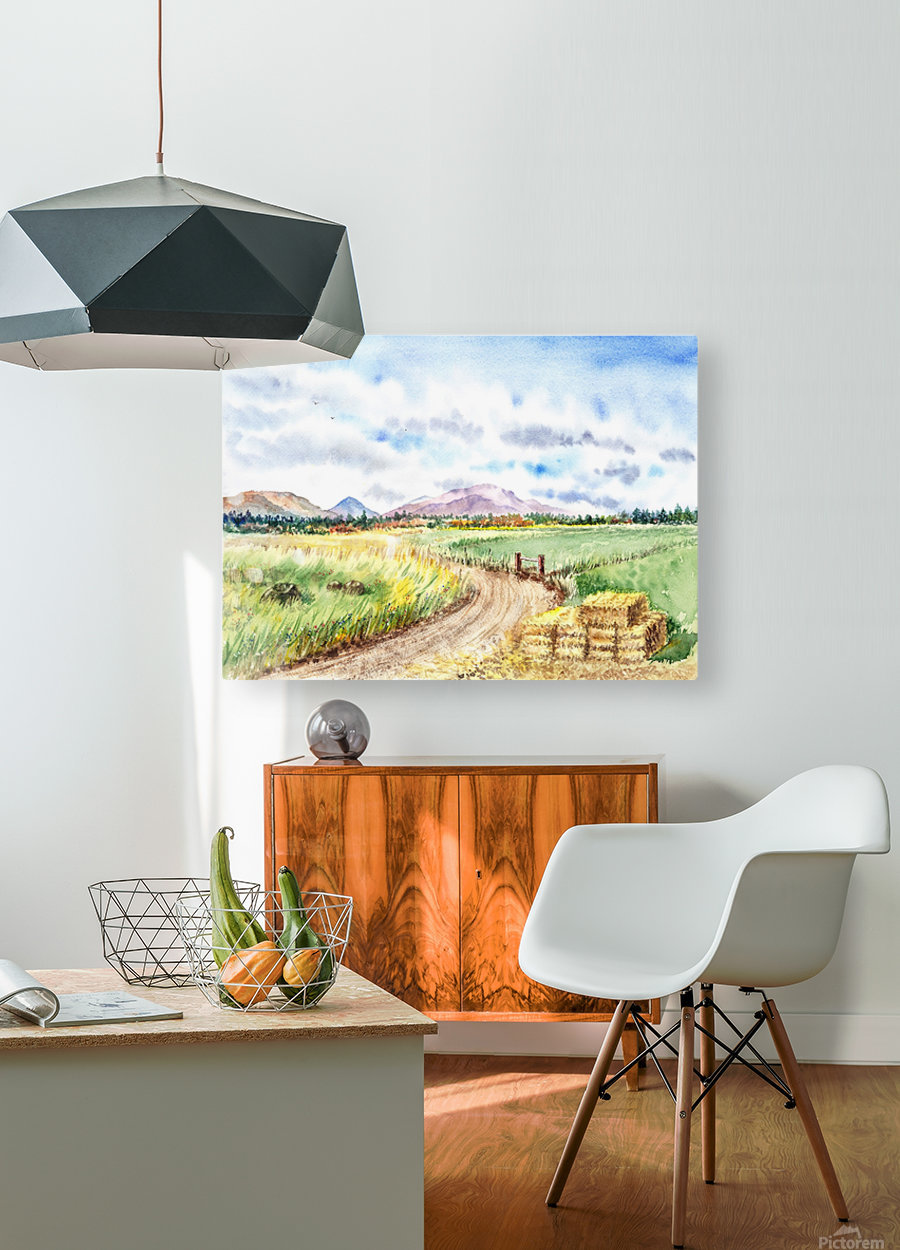 Farm Road The Mountains landsape  HD Metal print with Floating Frame on Back