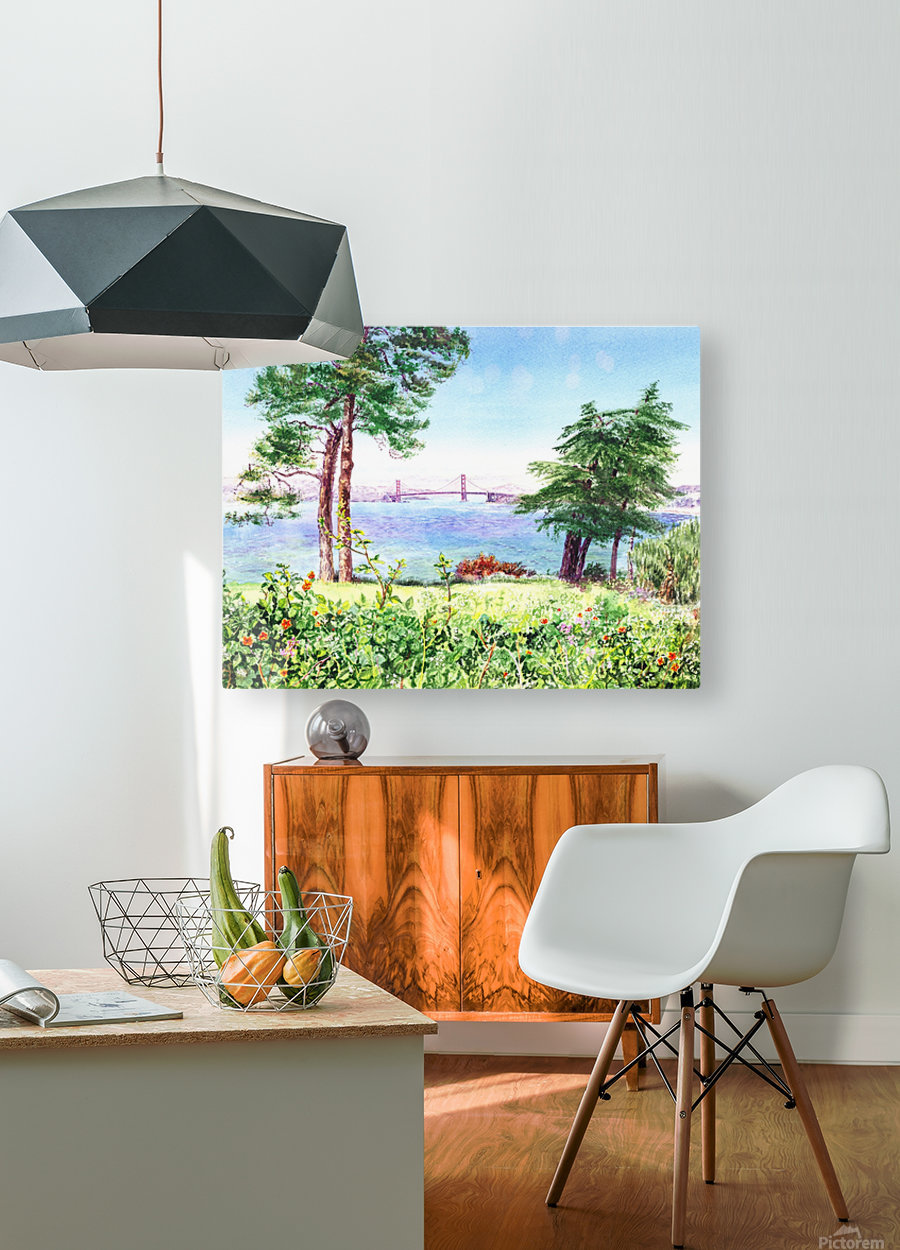 Golden Gate Bridge View From Lincoln Park San Francisco  HD Metal print with Floating Frame on Back