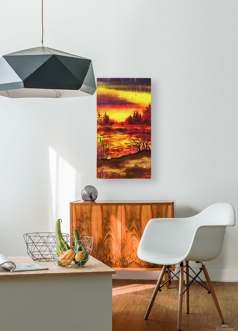Bright Sunset At The Lake  HD Metal print with Floating Frame on Back