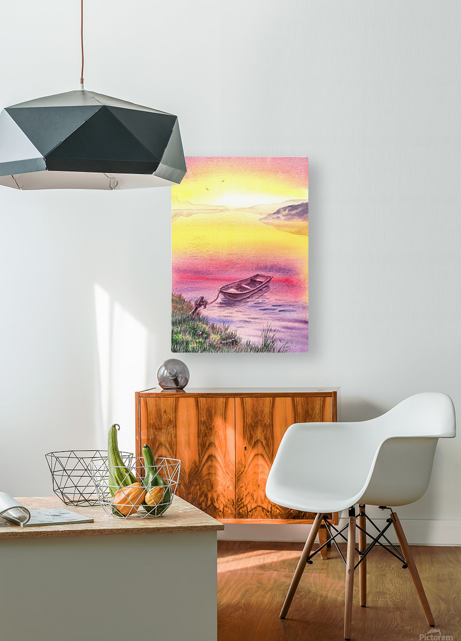 Sunrise At The Lake  HD Metal print with Floating Frame on Back