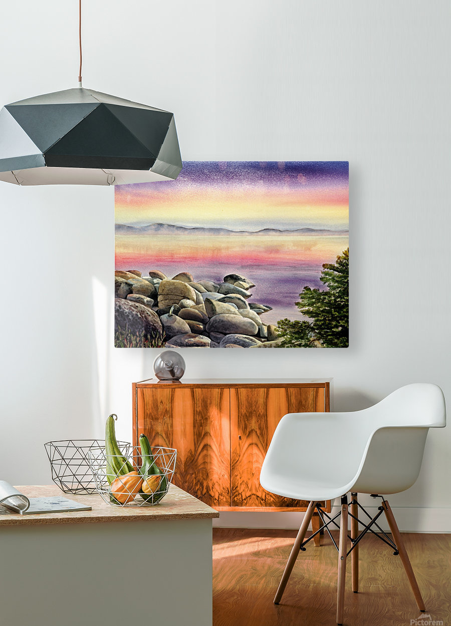 Purple Sunset At The Lake  HD Metal print with Floating Frame on Back
