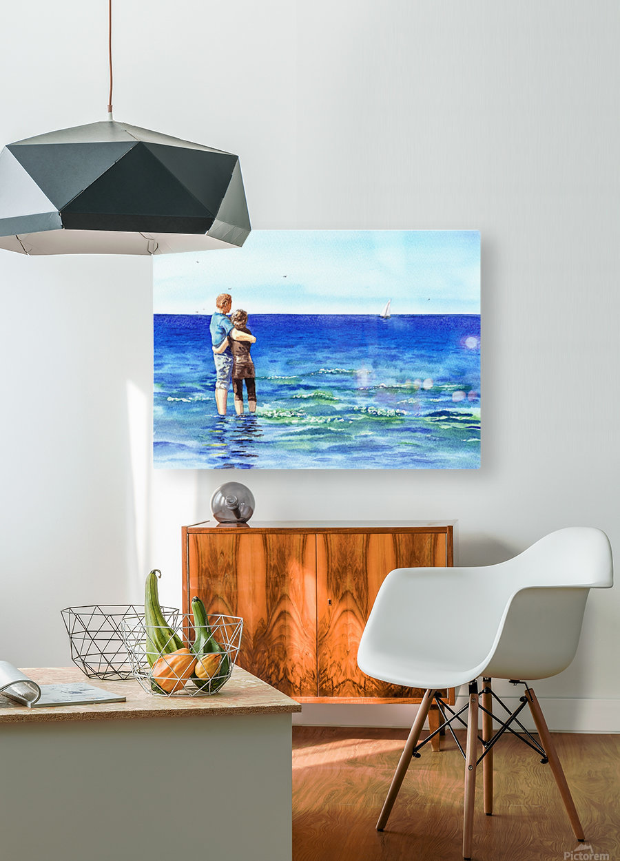 Couple And The Sea  HD Metal print with Floating Frame on Back