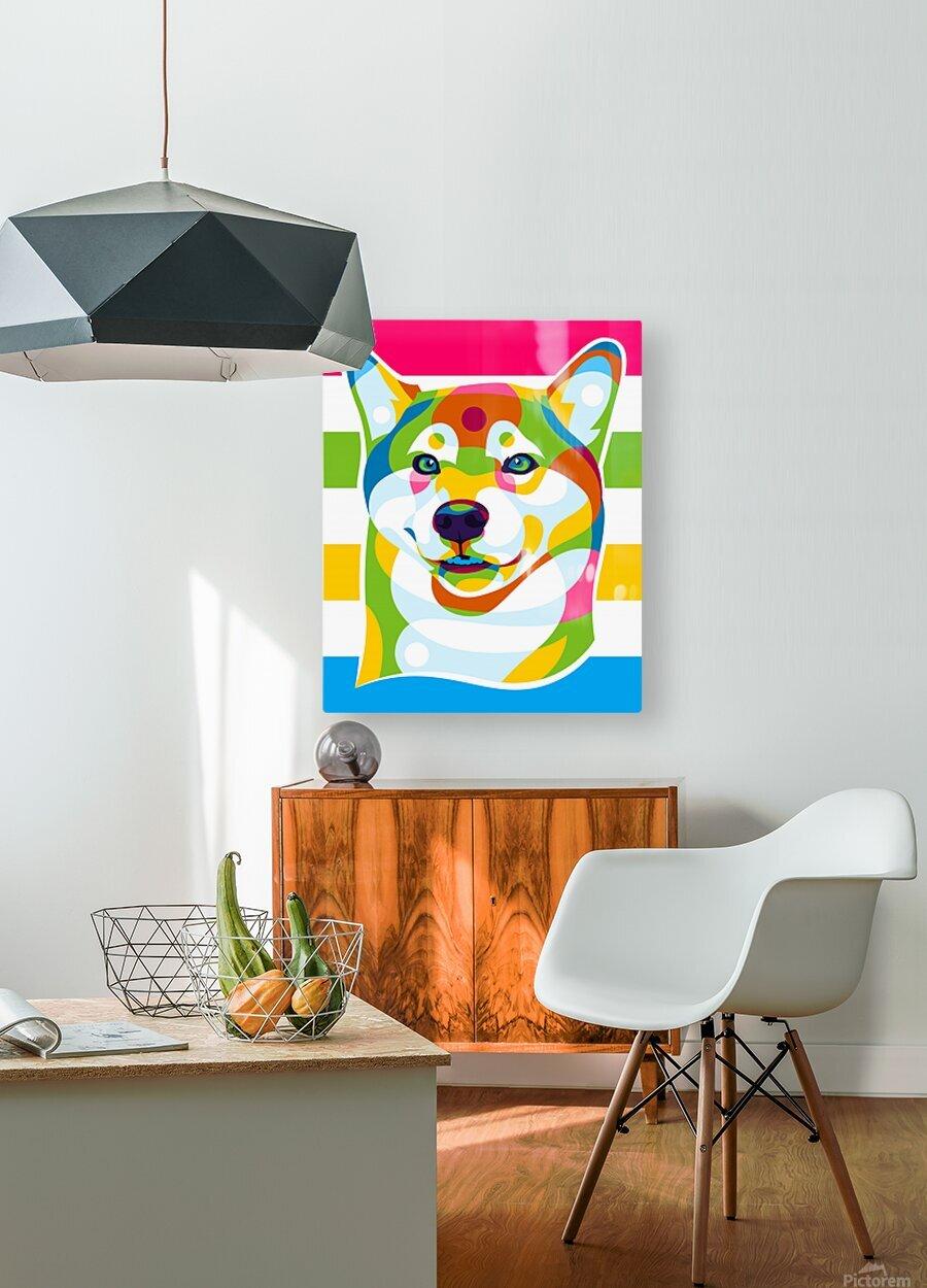 Shiba Inu Colorful Dog  HD Metal print with Floating Frame on Back