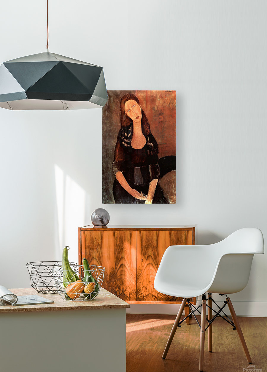 Modigliani - Portrait of Jeanne Hebuterne -3-  HD Metal print with Floating Frame on Back