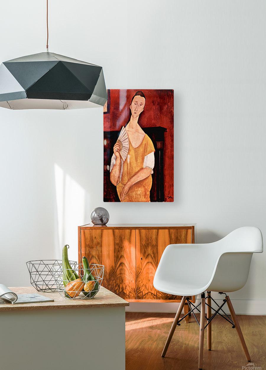 Modigliani - Portrait of Lunia Czechowska with fan  HD Metal print with Floating Frame on Back