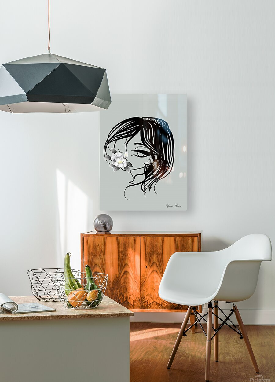 doodle with watercolor flower  HD Metal print with Floating Frame on Back