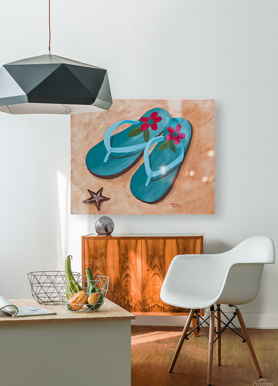 Flip Flops  HD Metal print with Floating Frame on Back