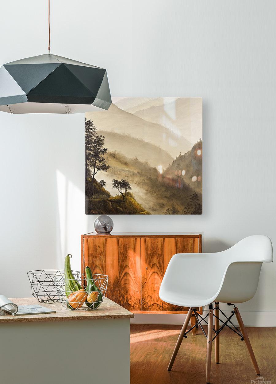 Misty Hills  HD Metal print with Floating Frame on Back