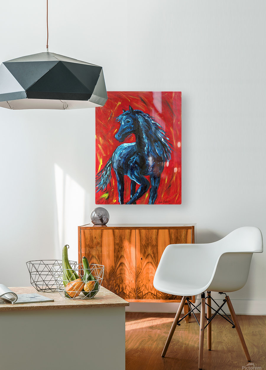 red horse  HD Metal print with Floating Frame on Back