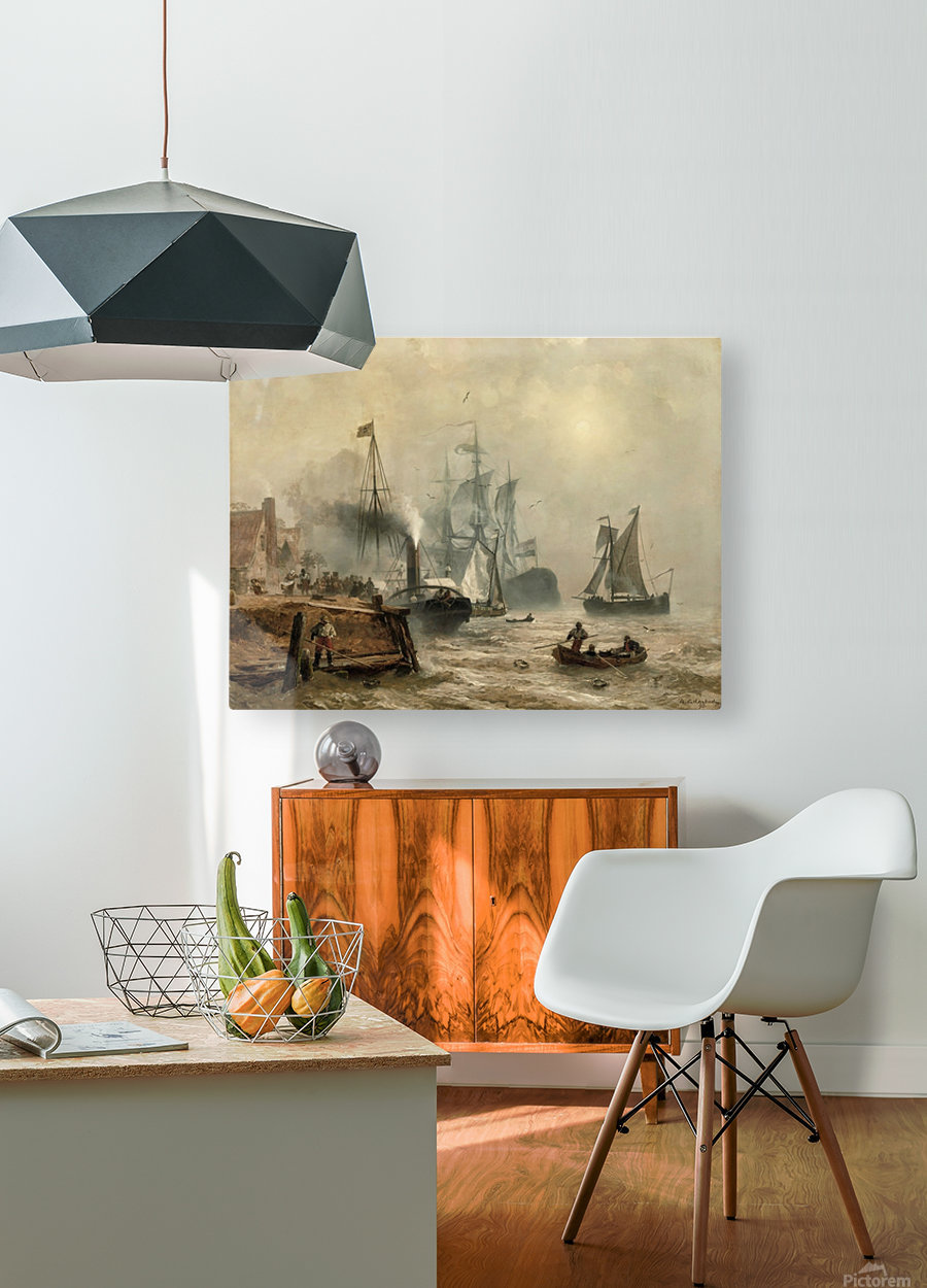 Boats in fog  HD Metal print with Floating Frame on Back