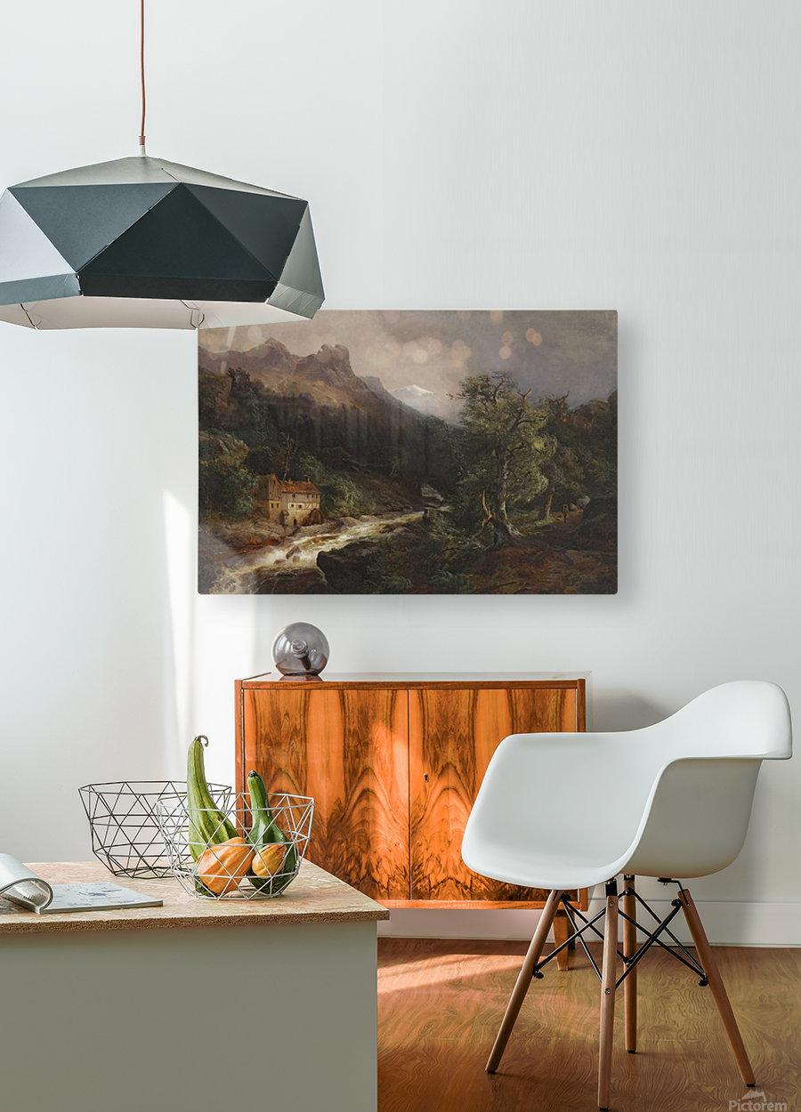 Gebirgslandschaft mit Muhle  HD Metal print with Floating Frame on Back