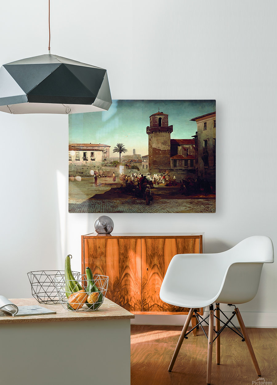 At the market  HD Metal print with Floating Frame on Back