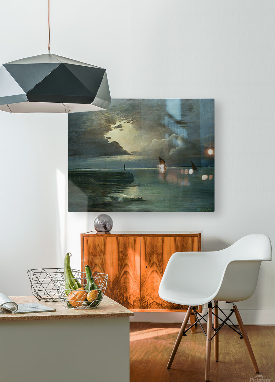Sonnenuntergang am Meer  HD Metal print with Floating Frame on Back