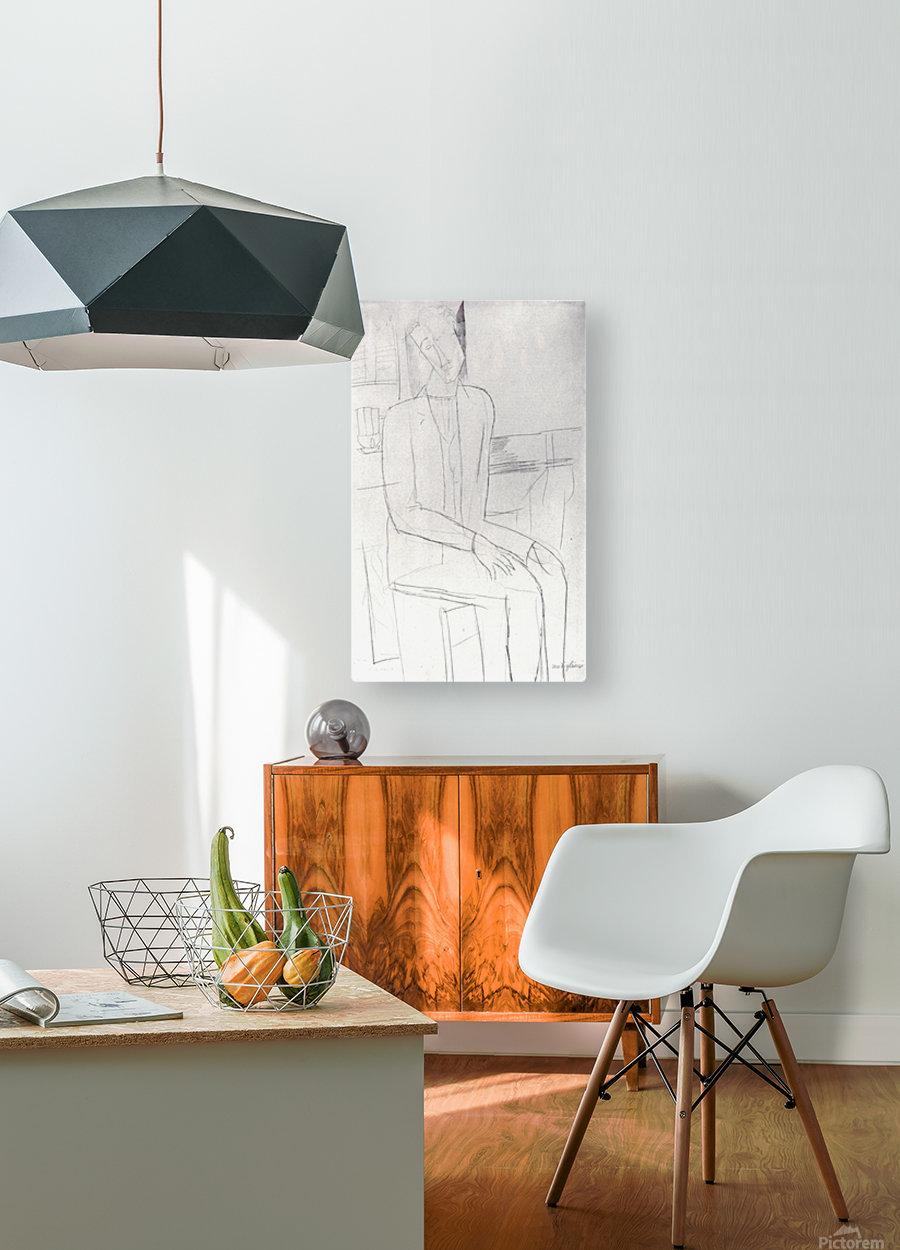 Modigliani - Sitting man  HD Metal print with Floating Frame on Back