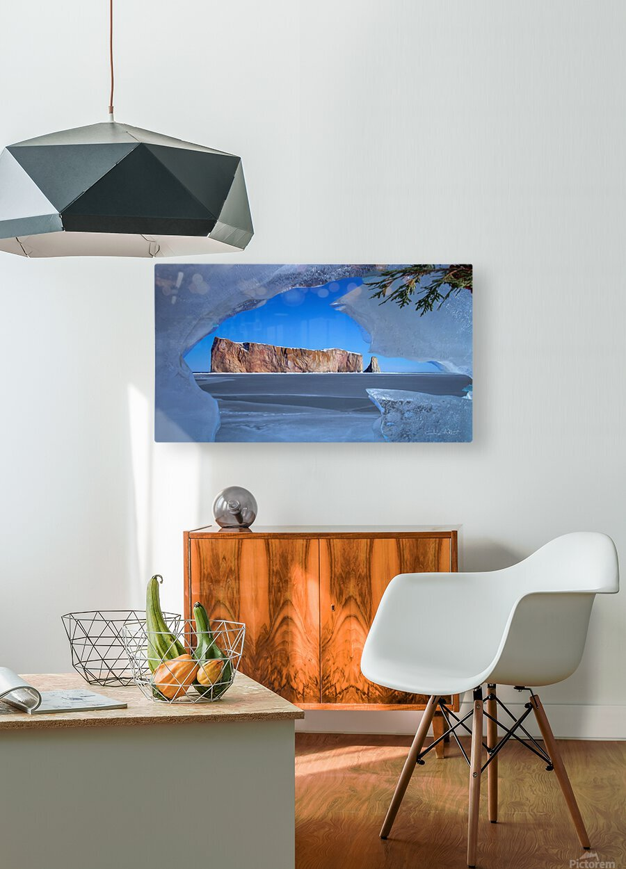 Rocher Perce sous glace  HD Metal print with Floating Frame on Back