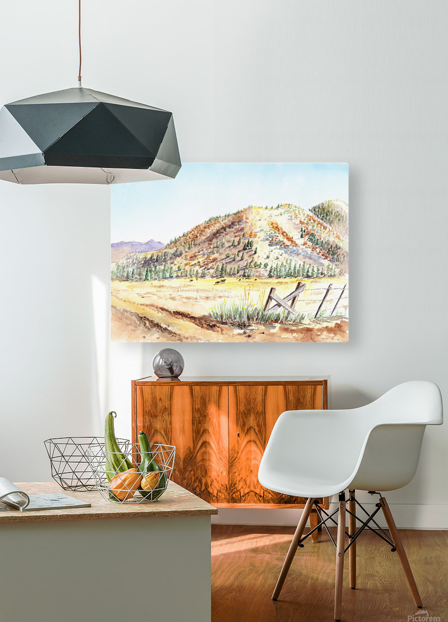 Landscape With Mountains Ranch And Cows  HD Metal print with Floating Frame on Back