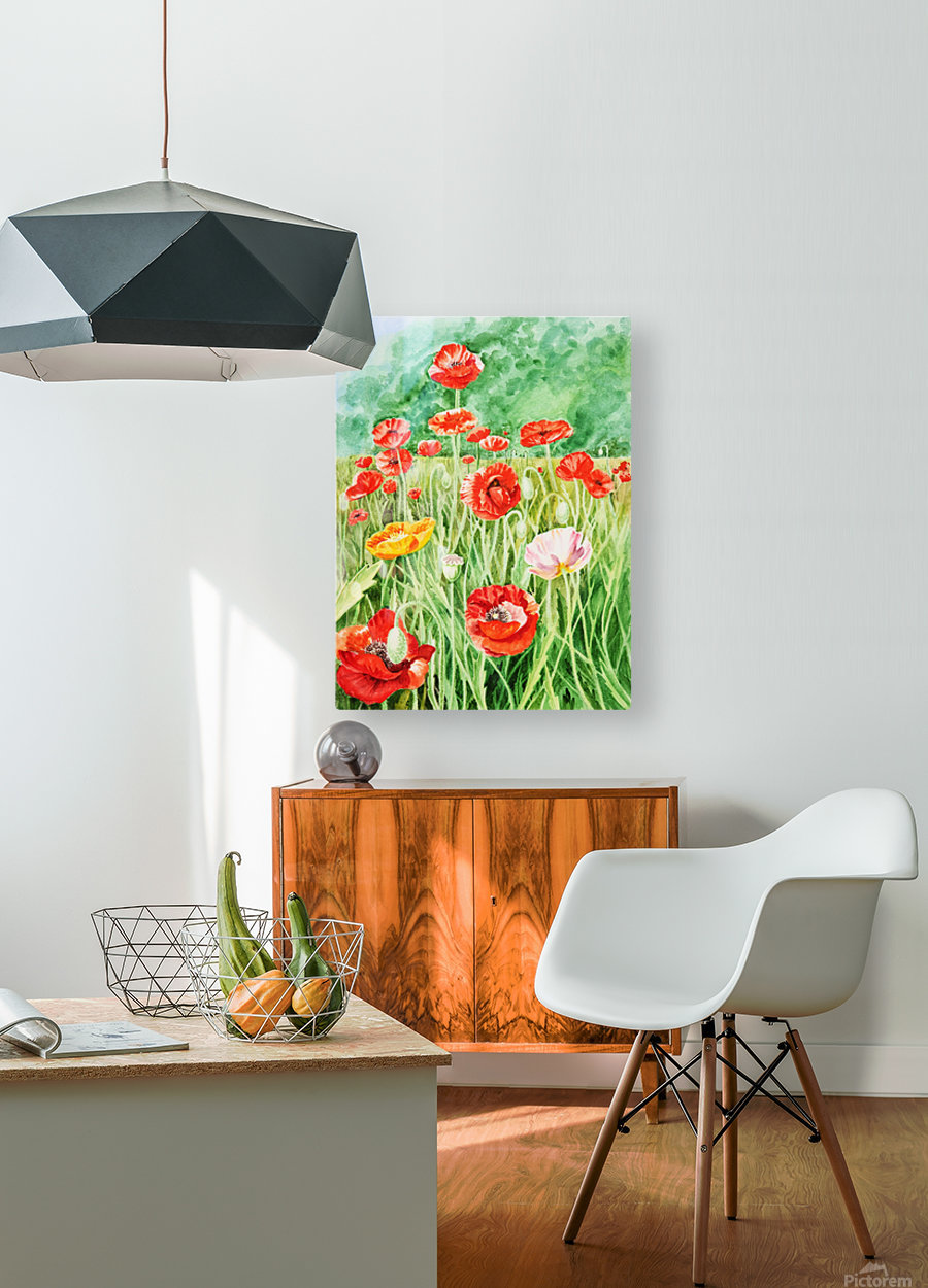 Poppy Field  HD Metal print with Floating Frame on Back