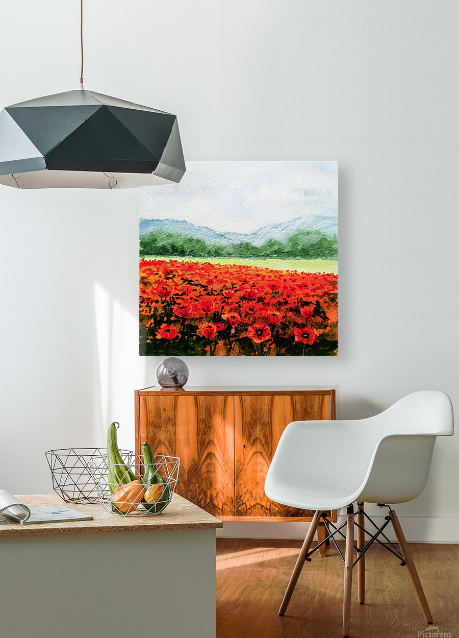 Red Poppies Field  HD Metal print with Floating Frame on Back
