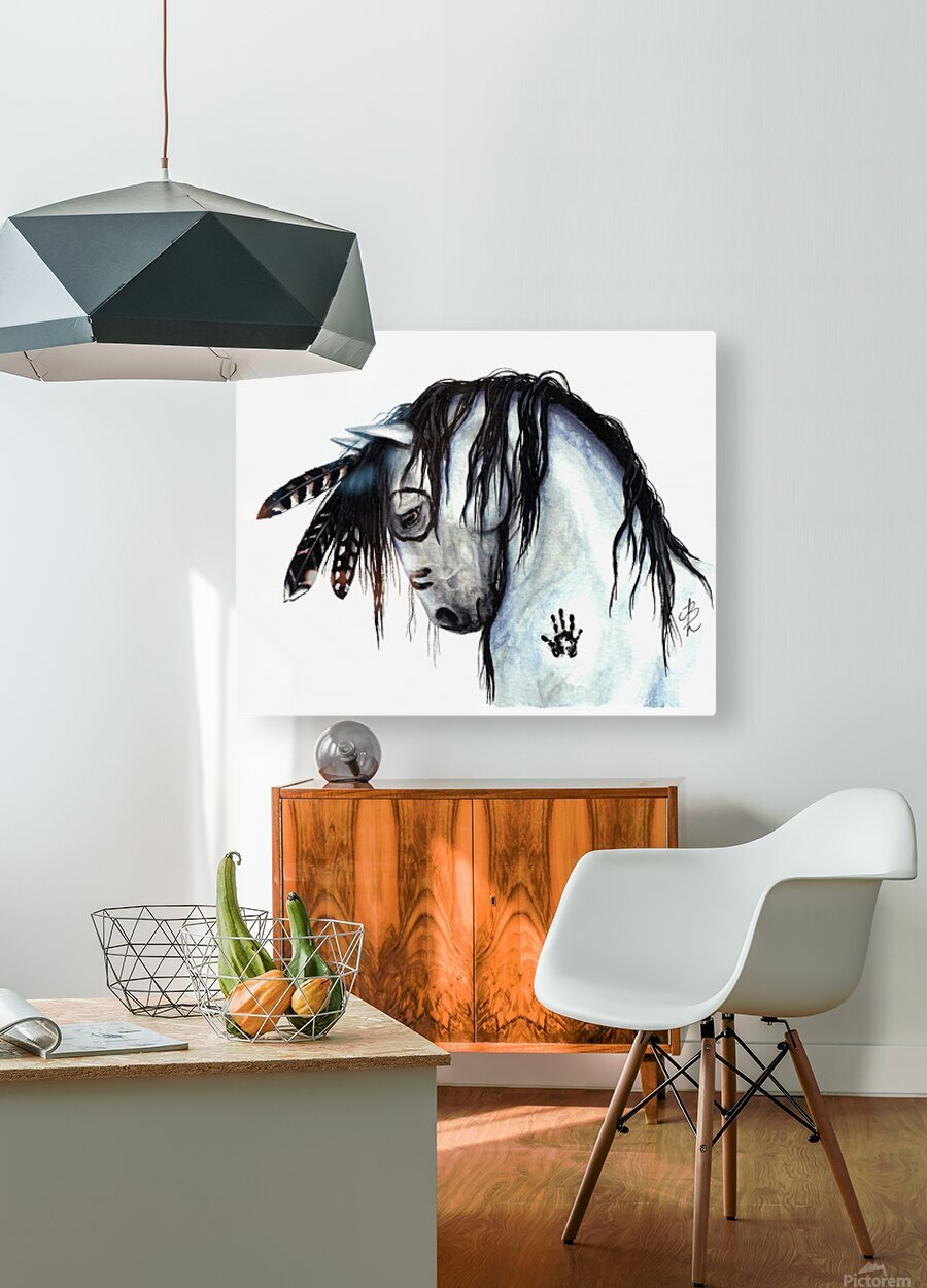 Grey Horse  HD Metal print with Floating Frame on Back
