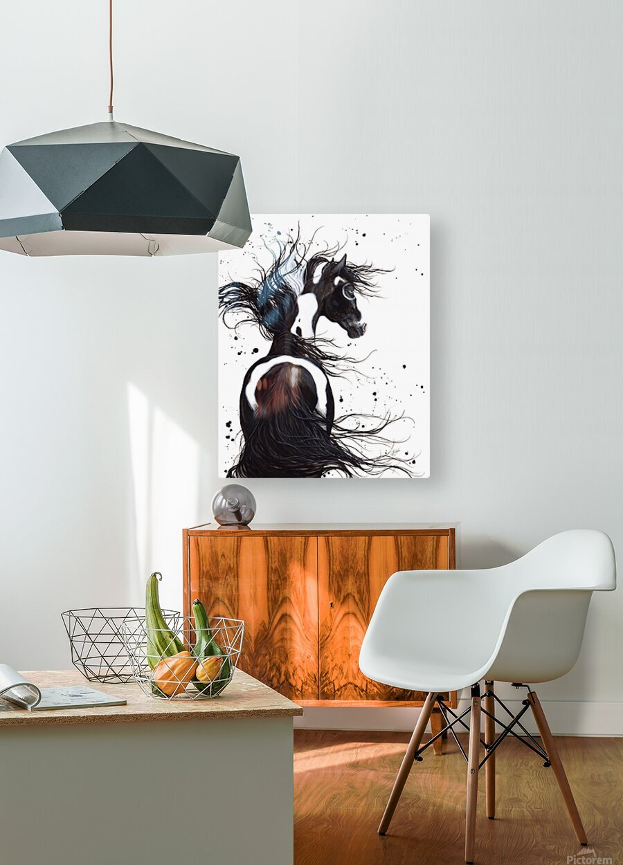 Black and White Pinto Horse  HD Metal print with Floating Frame on Back