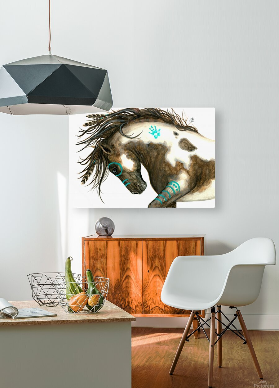 Pinto Horse Turquoise   HD Metal print with Floating Frame on Back