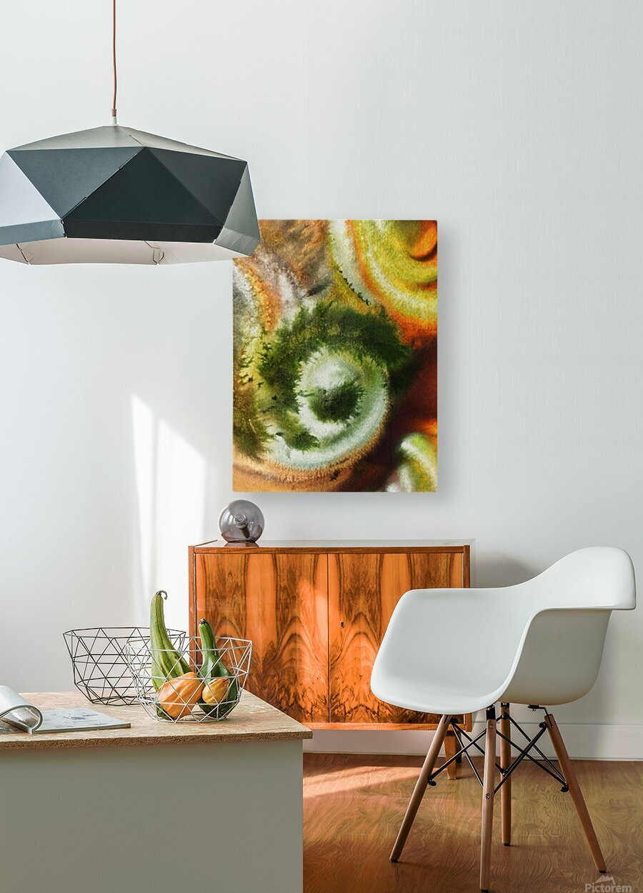 Fall Vortex Of Green Yellow Orange And Brown Abstract Watercolor   HD Metal print with Floating Frame on Back