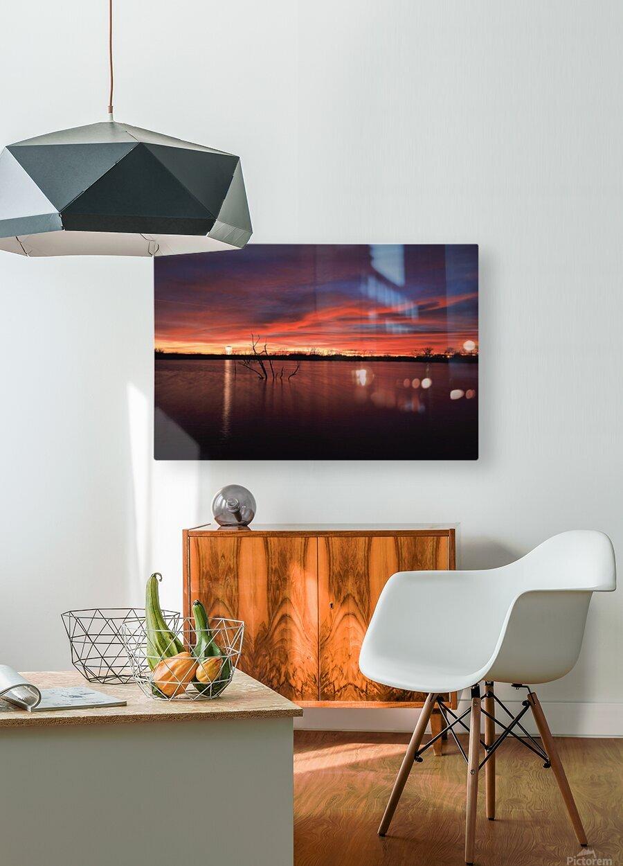 Wellington City Lake Sunset  HD Metal print with Floating Frame on Back