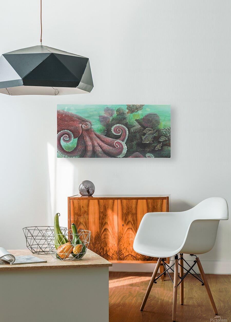 Collection WAVES-Octopus  Impression métal HD avec cadre flottant sur le dos