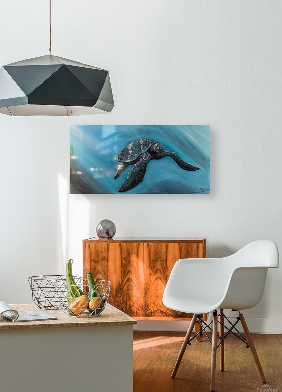 Collection WAVES-Turtle  Impression métal HD avec cadre flottant sur le dos