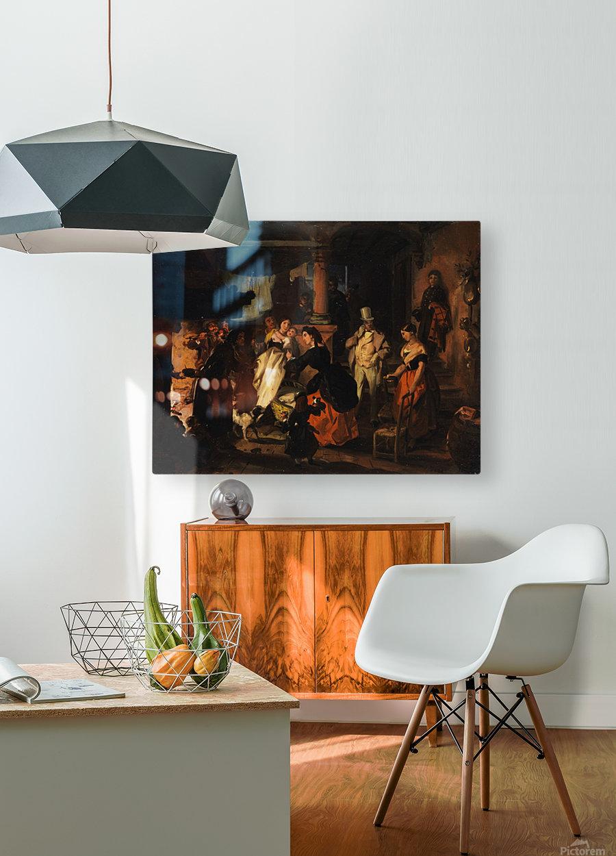 Hoher Besuch bei einer Arbeiterfamilie mit einem kleinen Kind  HD Metal print with Floating Frame on Back