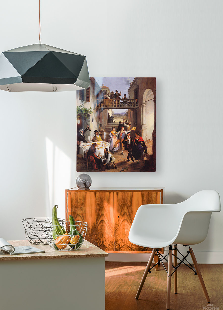 Festa di nozze in un cortile  HD Metal print with Floating Frame on Back